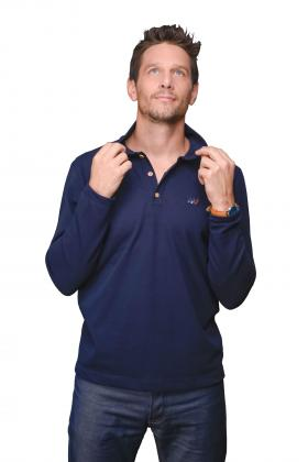 Polo homme manches longues bleu marine