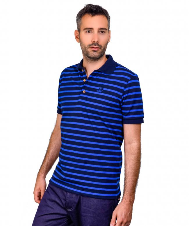 Polo homme à rayures bleues